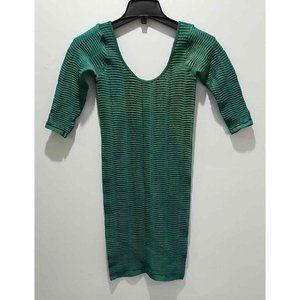Bebe Women's Long Sleeve Bodycon Dress Green P/S